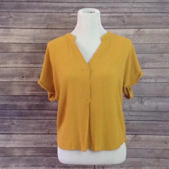 H M Tops - H M Mustard Yellow 3 4 Sleeve V-Neck Blouse Shirt 7d96faa52
